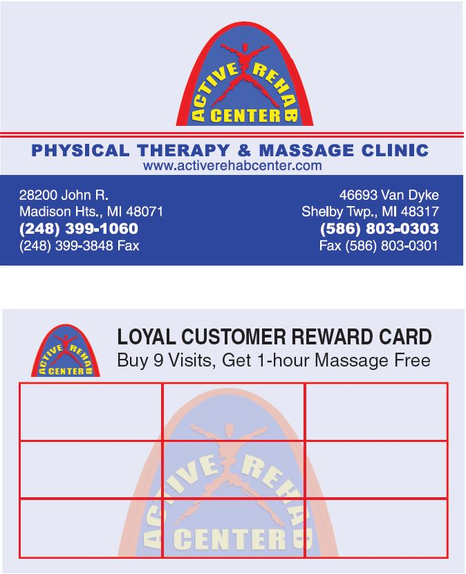 Active Rehab Center Loyal Customer Reward Card